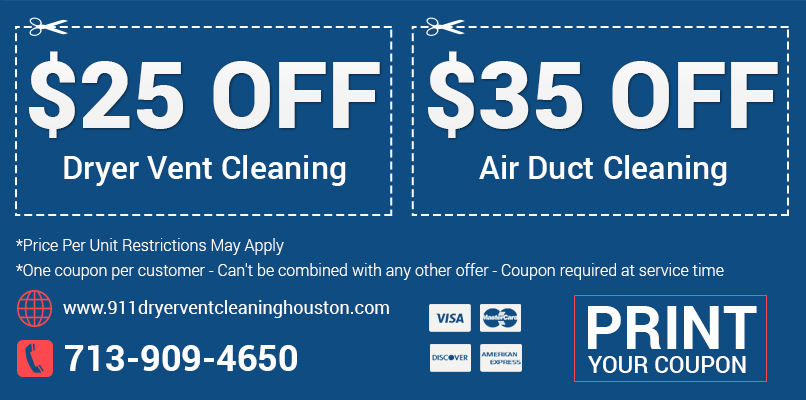 911 Dryer Vent Cleaning Houston TX Printable Coupon